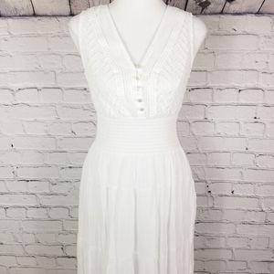 J Gee small white boho maxi sleeveless dress